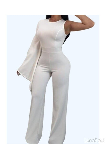 Camel One Shoulder Ribbed Jumpsuit