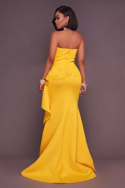 Yellow Bandeau Elegant Maxi Dress, Dresses, Luna Soul, Luna Soul