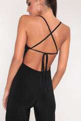 Backless Split Leg Jumpsuit - Black Jumpsuits & Playsuits | Luna Soul