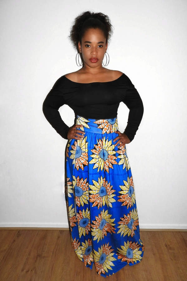 Botanic Print Maxi Skirt Set - Blue | Co-ord Sets | Luna Soul