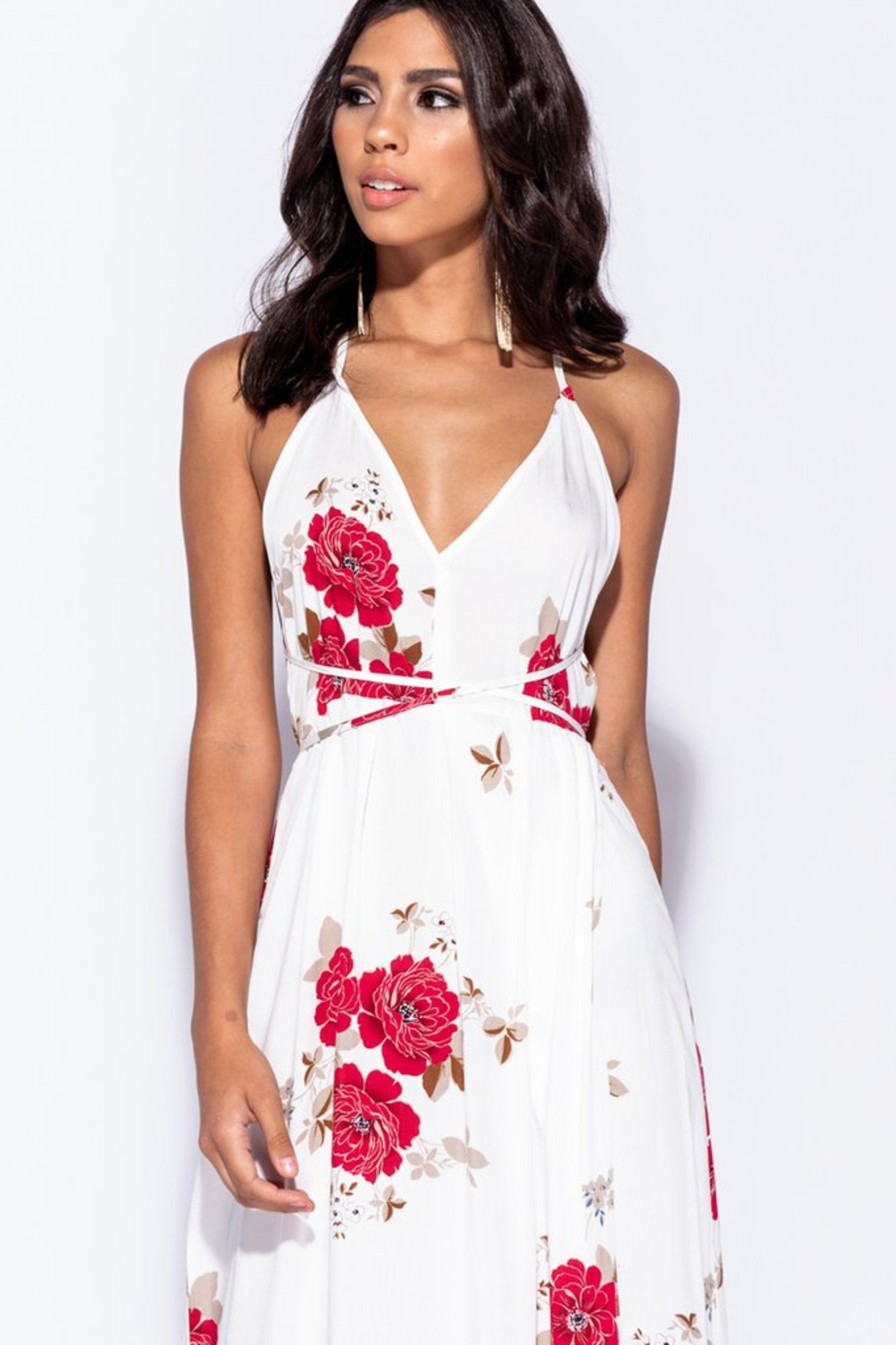 Red Floral Halter Neck Front Slit Maxi Dress, Dresses, Luna Soul, Luna Soul