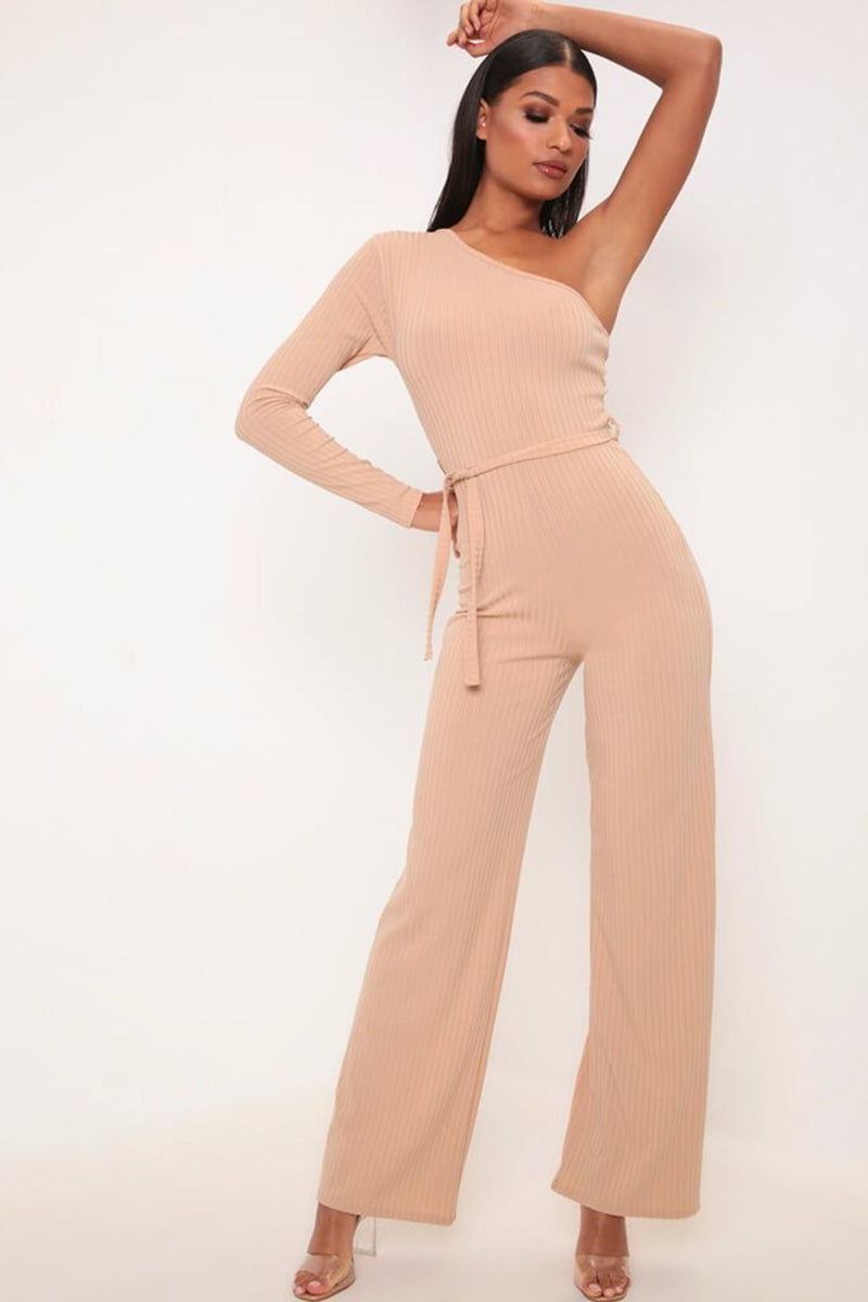CAMEL ONE SHOULDER JUMPSUIT - NUDE | Luna Soul