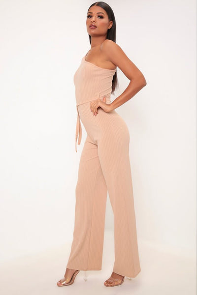 Camel One Shoulder Ribbed Jumpsuit, Jumpsuit & playsuit, Luna Soul, Luna Soul