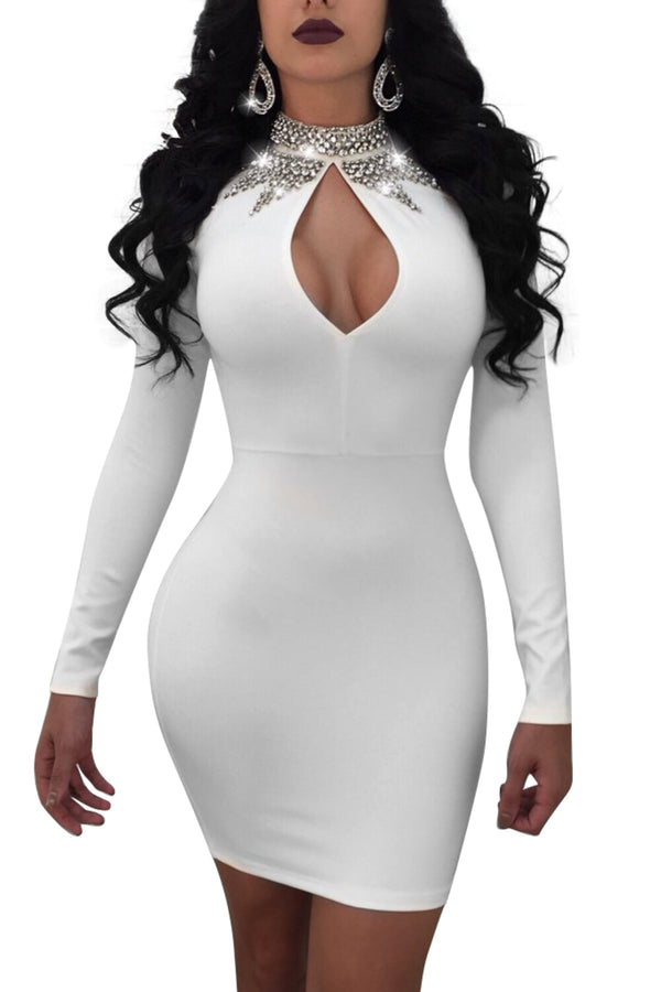 KEYHOLE BODYCON DRESS - WHITE | Luna Soul