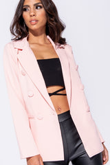 DOUBLE BREASTED BLAZER - PINK | Luna Soul