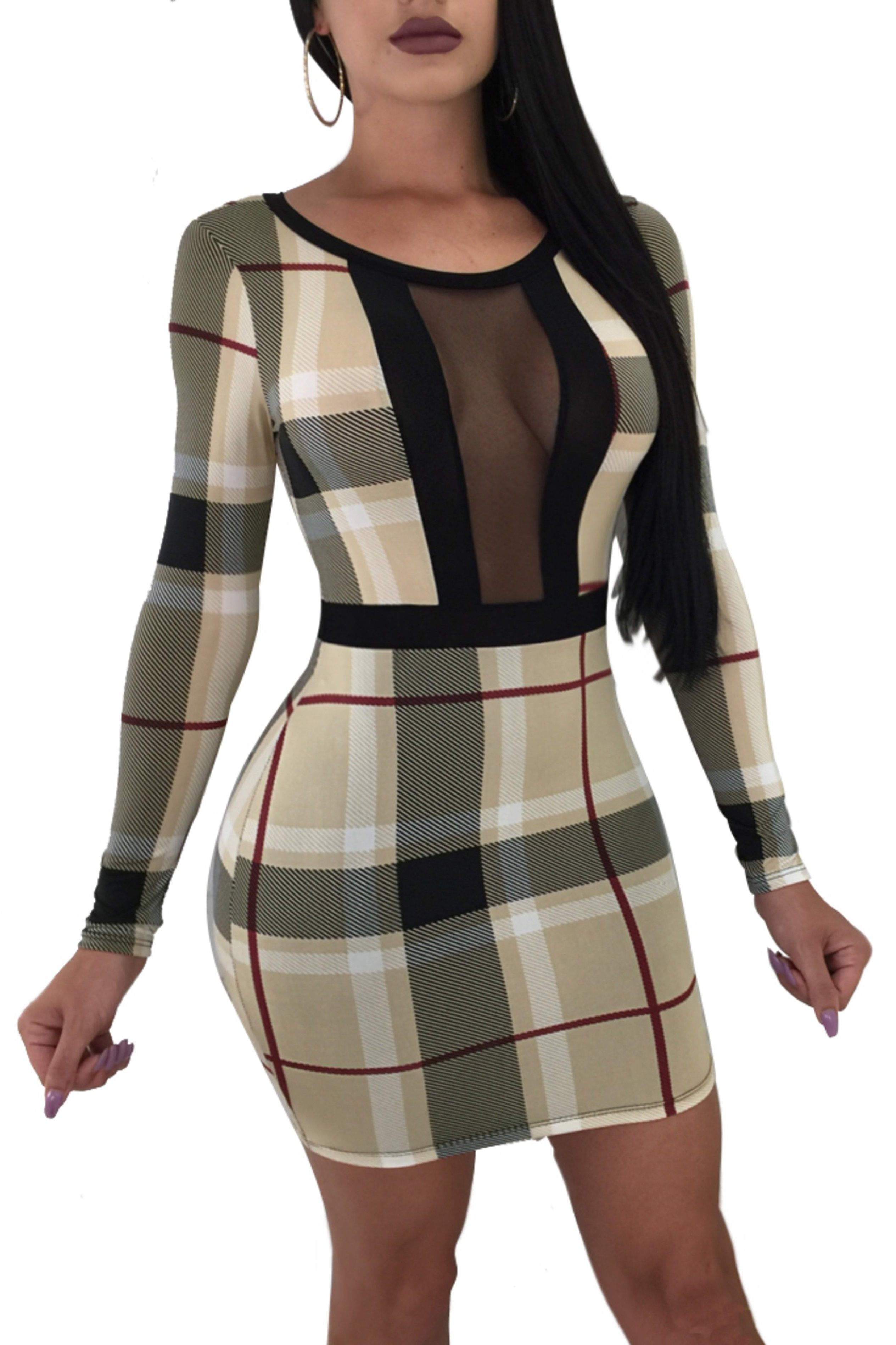 Check Crepe Mesh Bodycon Dress, Dresses, Luna Soul, Luna Soul