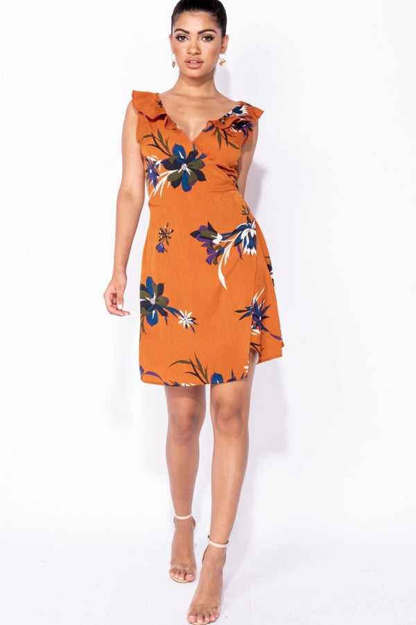 FLORAL WRAP RUST MINI DRESS - ORANGE | Luna Soul