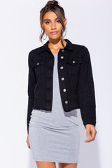 FRAYED HEM DENIM COAT - BLACK | Luna Soul