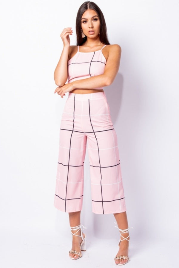 Grid Check Print Top & Trousers Set - Pink | Co-ord Sets | Luna Soul