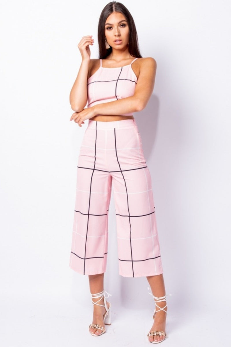 GRID CHECK PRINT TOP & TROUSERS SET - PINK | Luna Soul