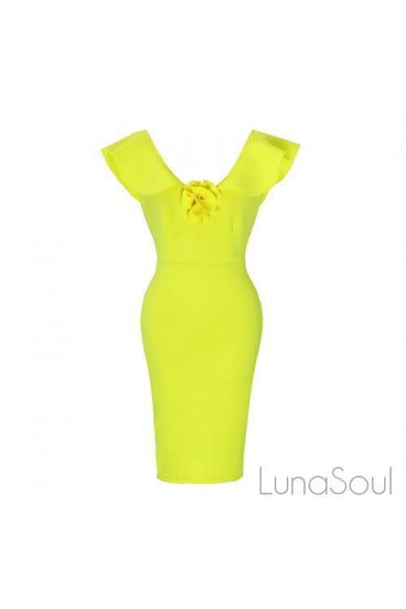 RUFFLE PLEATED MIDI DRESS - YELLOW | Luna Soul