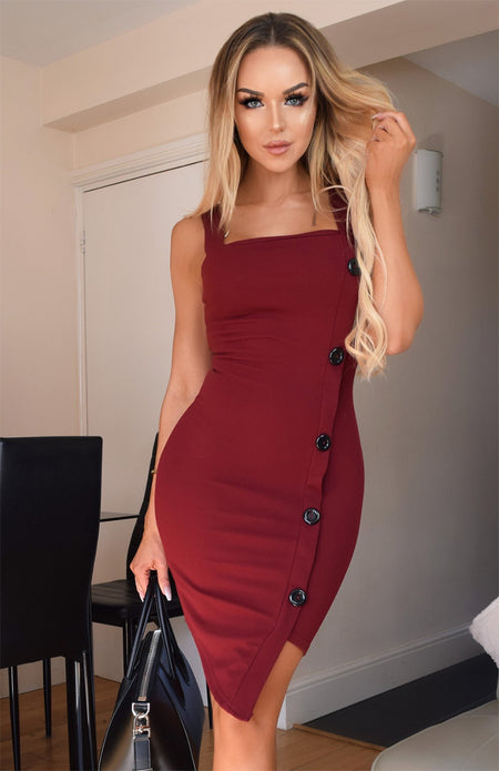 Sequins Belt Plunge Bodycon Dress