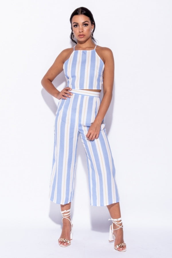 Azure Vertical Stripe Set - Blue | Co-ord Sets | Luna Soul