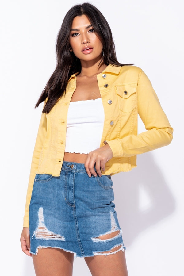 MUSTARD DENIM JACKETS - YELLOW | Luna Soul
