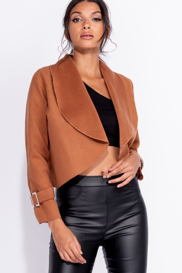 SHAWL COLLAR JACKET - BROWN | Luna Soul