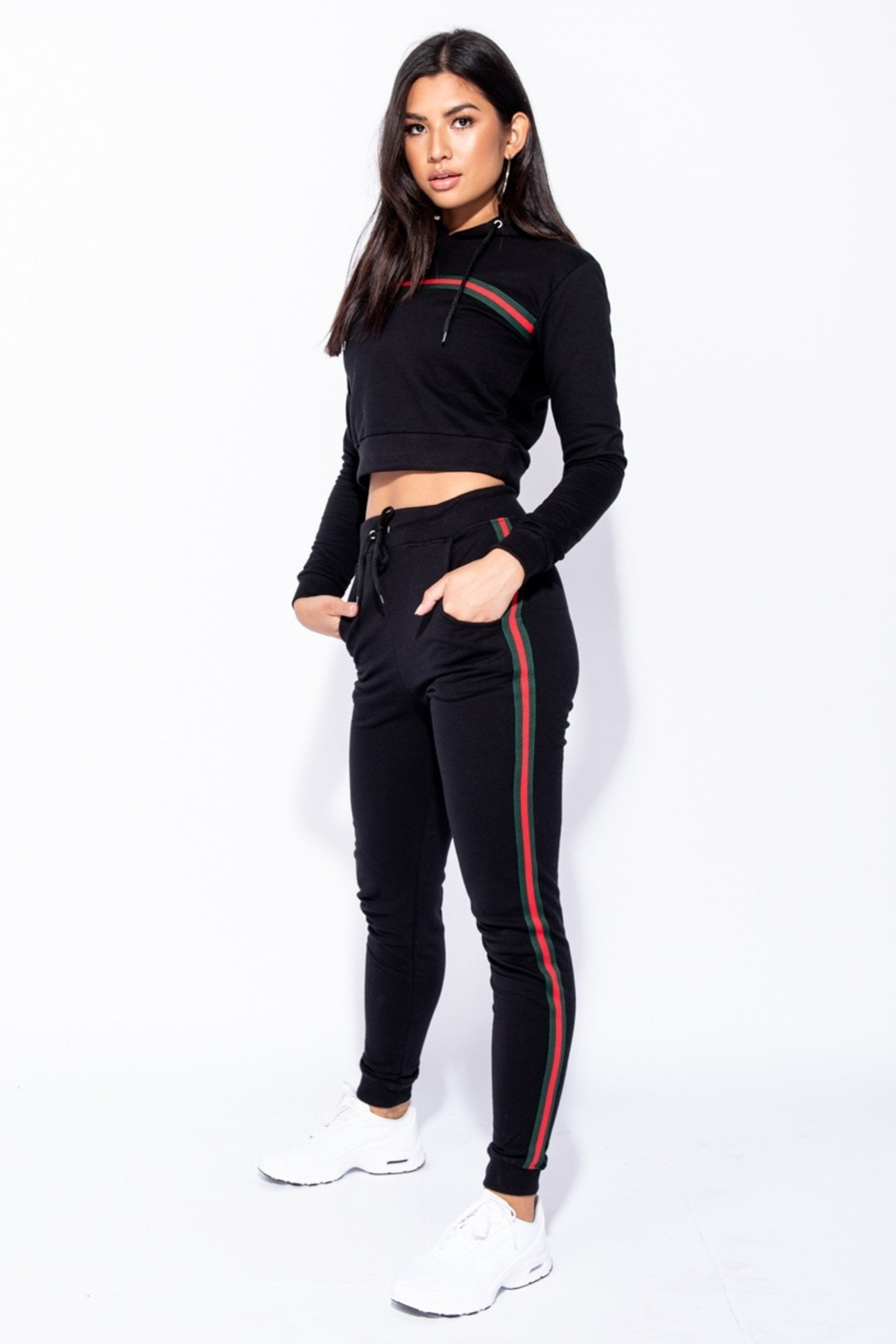 Black Side Stripe Hooded Slim Fit Set, Co-ord, Luna Soul, Luna Soul