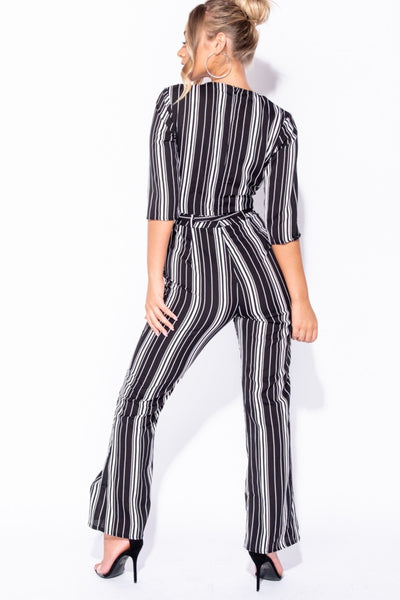 BLACK WHITE STRIPED WRAP OVER FRONT SELF BELT JUMPSUIT, , Luna Soul, Luna Soul