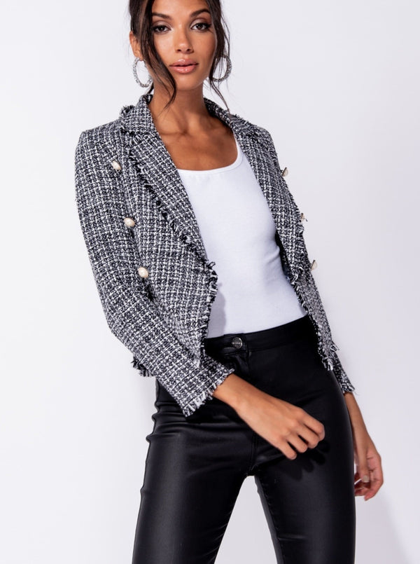 TWEED CHECK DOME BLAZER - BLACK | Luna Soul