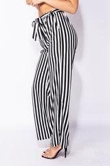 VERTICAL STRIPE BELTED TROUSERS - BLACK | Luna Soul