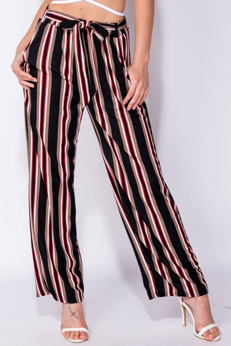 VERTICAL STRIPE BELTED TROUSERS - RED | Luna Soul