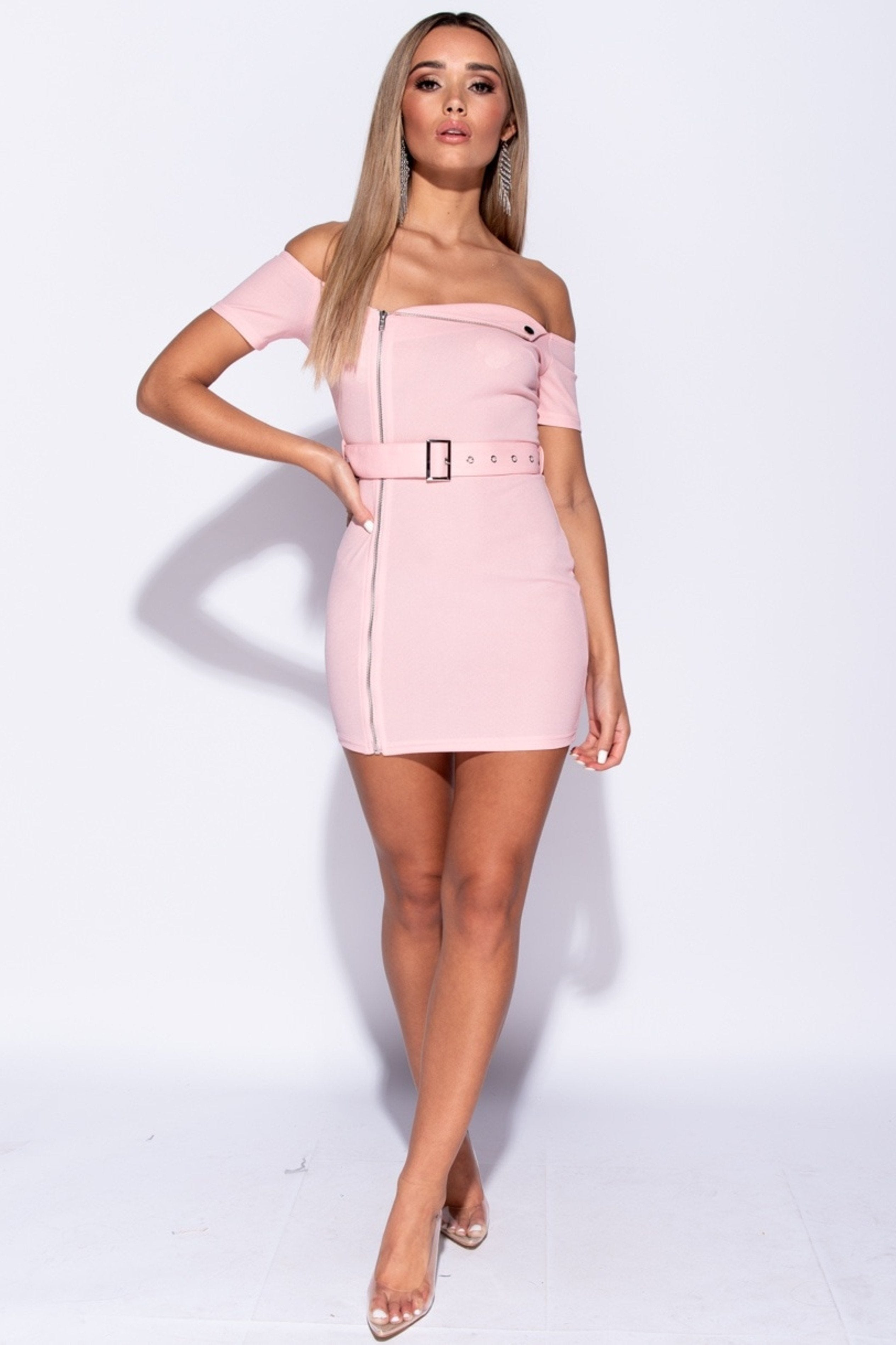 Front Zipper Self Belt Bardot Dress, Dresses, Luna Soul, Luna Soul
