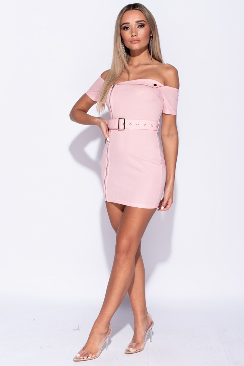 SELF BELT BARDOT DRESS - PINK | Luna Soul