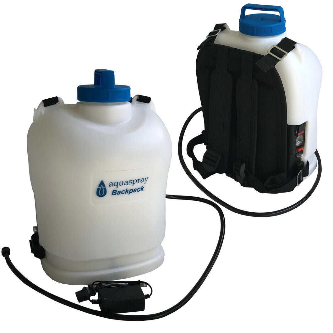 Backpack water tank & pump for water fed pole window and solar