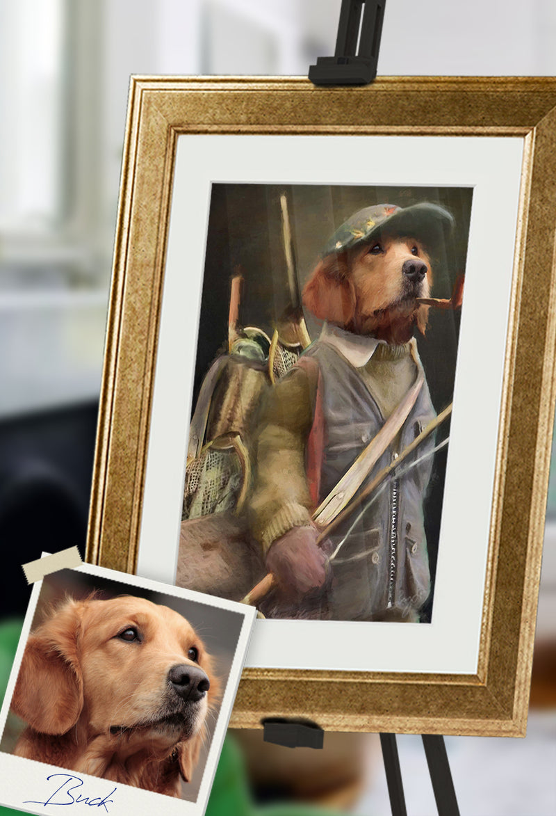 Fly Fisherman Pet Portrait at Turner & Walker