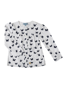 Hollie cardigan, white with navy butterflies