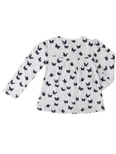 Hollie cardigan, white w. butterflies