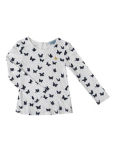 Melia long sleeved t-shirt, White w. navy butterflies