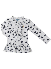 Ruth shirt, White w. butterflies