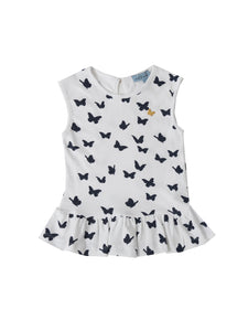 Linda top, white w. navy butterflies