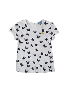 Ella t-shirt, white w. navy butterflies