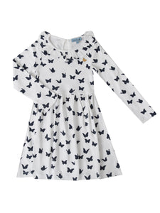 Saskia dress, white w. navy butterflies