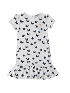 Sarah dress, white w. navy butterflies