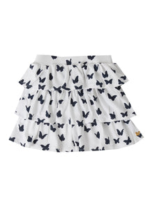 Matilda skirt, white w. navy butterflies