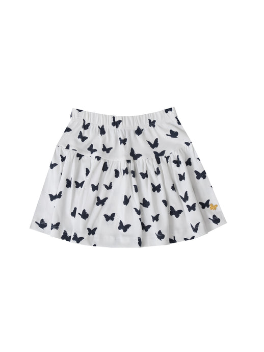 Noma skirt, white w. navy butterflies