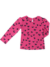 Melia long sleeved t-shirt, sky w. navy butterflies