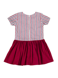 Leonie dress, stripe/raspberry