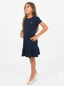 Sarah dress, sky w. navy butterflies