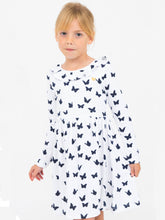 Saskia dress, sky w. navy butterflies