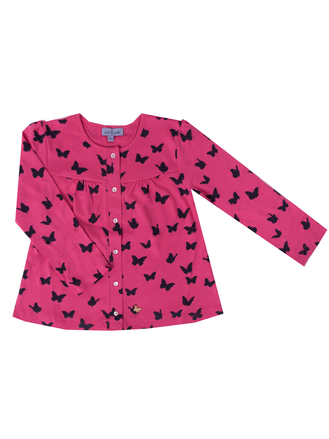 Hollie cardigan, Sky w. navy butterflies