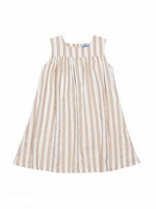 Olivia dress, beige stripes