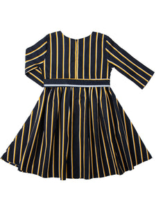 Lilian dress, navy w. stripe