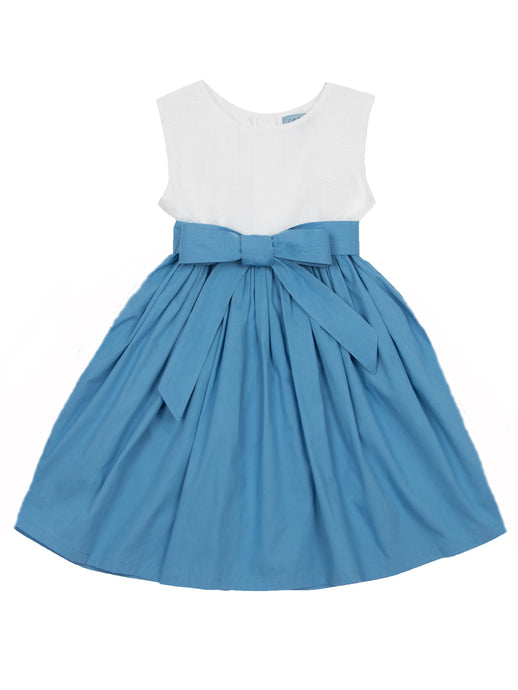Sasha dress, bluebell/white