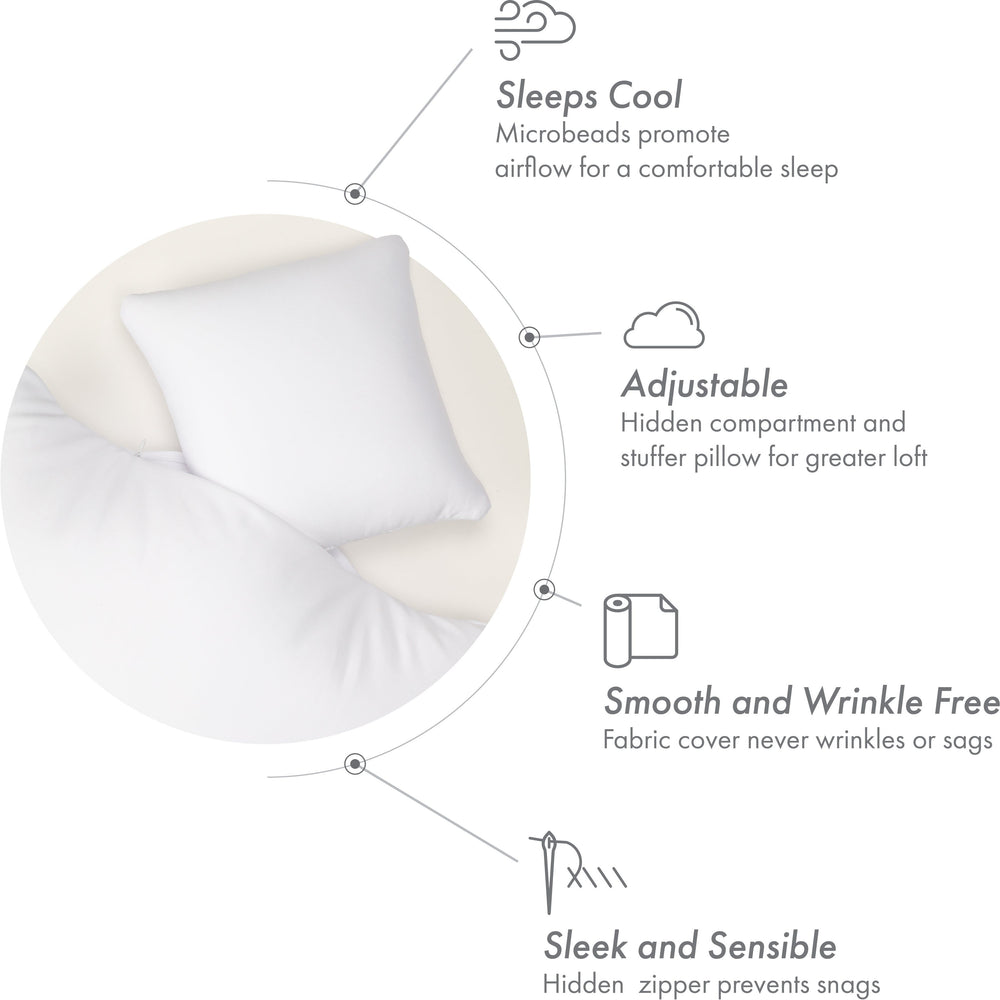 Microbead Stuffer Pillow Insert Sham Square Pillow Cushion for Extra Comfort & Support. Zip Pocket w/ Mini stuffer Zip-in Insert - Adjustable & Perfect Fit With Any Decorative Cover - 1 Pcs