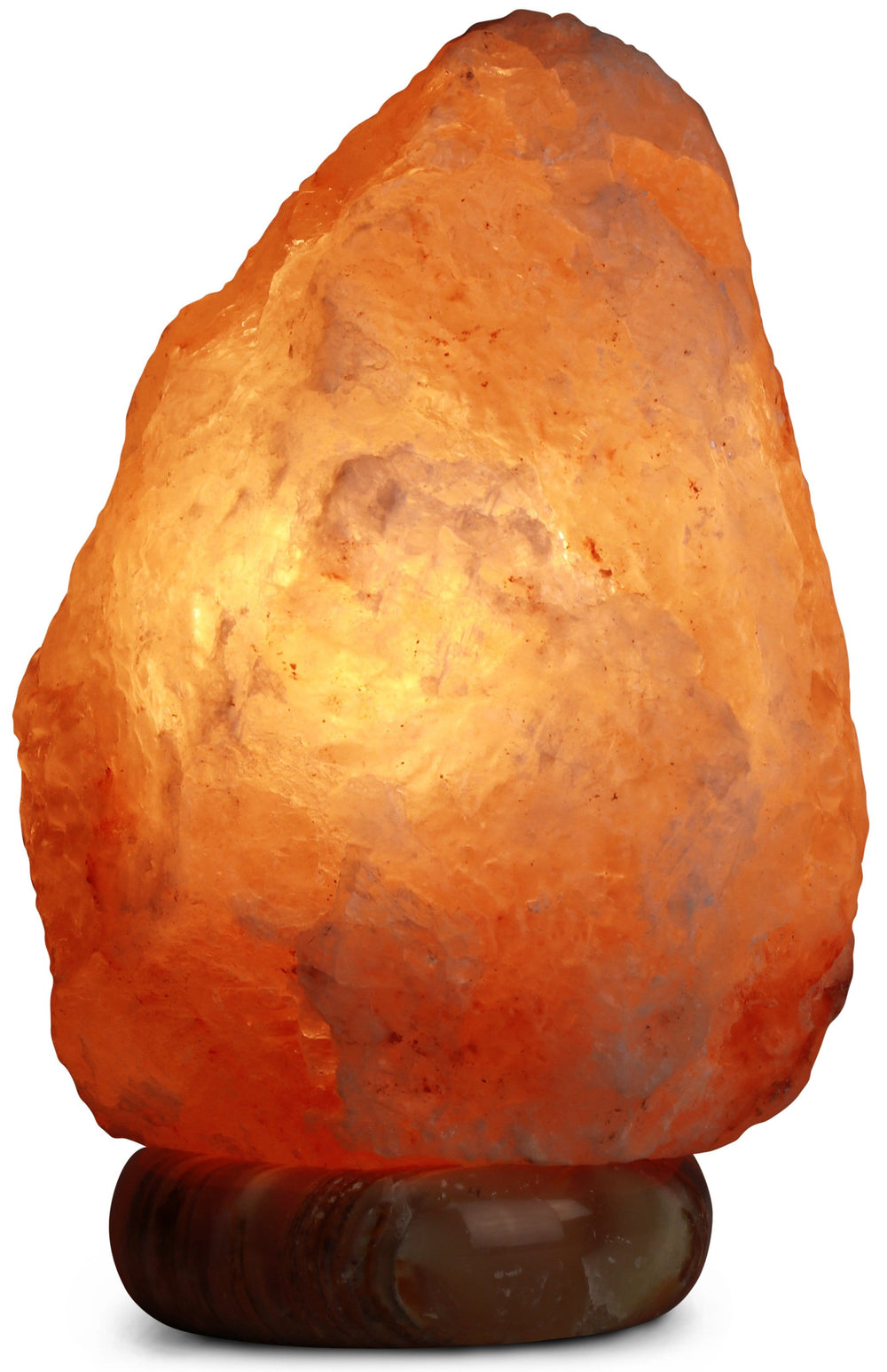 Himalayan Rock Salt Natural Crystal Lamp, 9.5 Inches Tall - Soft Calm Therapeutic Light - Naturally Formed Salt Crystal Design On Onyx Marble Base - Tibetan Evaporated Rock Lamps - , Dark Orange Hue