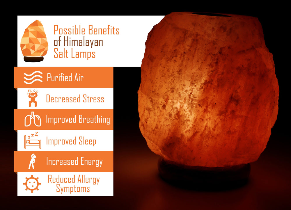 Himalayan Rock Salt Natural Oil Heating Lamp, 7 Inch Tall - Soft Calm Therapeutic Light - Naturally Salt Crystal On Onyx Marble Base - Table Oil Diffuser, Dark Orange Hue