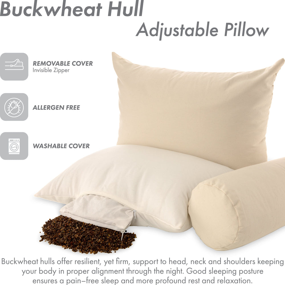 Buckwheat Big Buck Bed Pillow Filled With US Grown Organic Buckwheat Hulls Cool Ventilation - Japanese Style - Keep Your Spine Straight Support - Adjustable Fill Zipper, X-Large